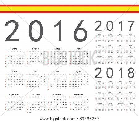 Set Of Spanish 2016, 2017, 2018 Year Vector Calendars