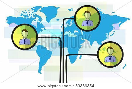 Illustration Of Persons On Blue World Map Isolated On White Background