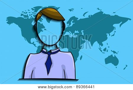 Illustration Of Businessman With World Map