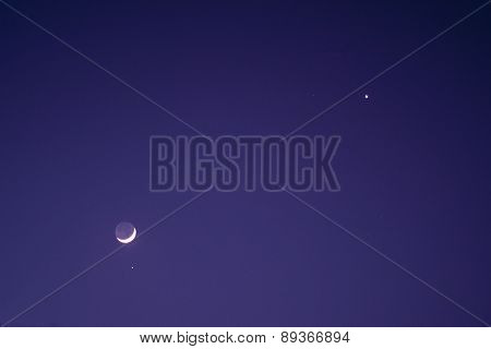 Nightsky With Moon, Venus And Aldebaran