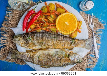 Roasted Trout With Potatoes And Carrots