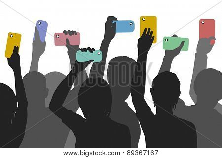 Editable vector silhouettes of people holding up smartphones to record an incident