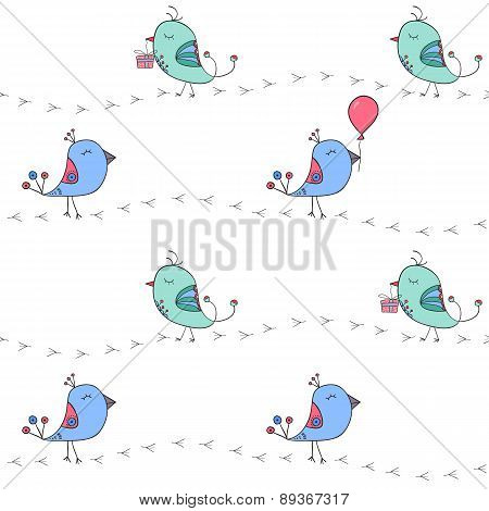 The Black Footprints And Cute Doodle Birds With Gift Box And Balloon.