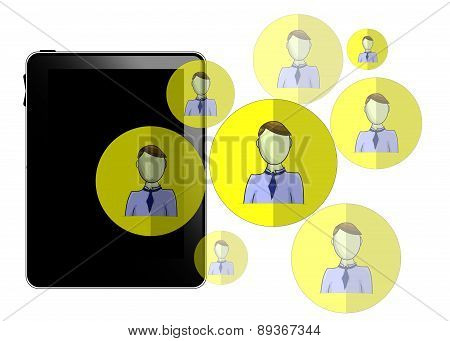 Illustration Of Tablet With Social Media Heads Isolated On White Background