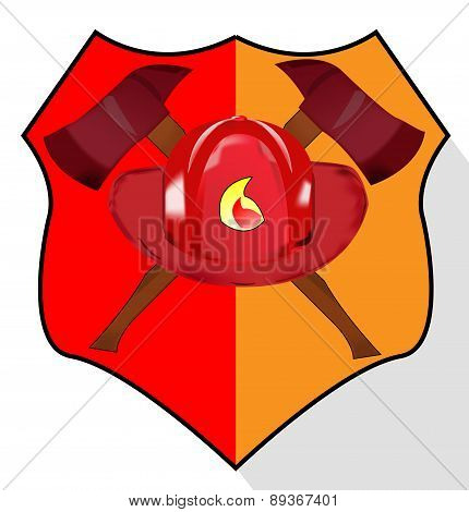 Illustration Of Fire Department Shield Isolated On White Background