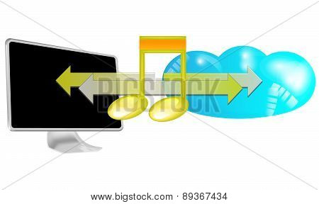 Illustration Of Streaming Music In Cloud Isolated On White Background