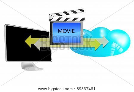 Illustration Of Streaming Movie In Cloud Isolated On White Background
