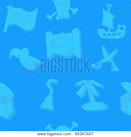 Illustration Of Seamless Pirate Symbols Background With Skull, Ship, Treasure, Flag, Parrot And Swor