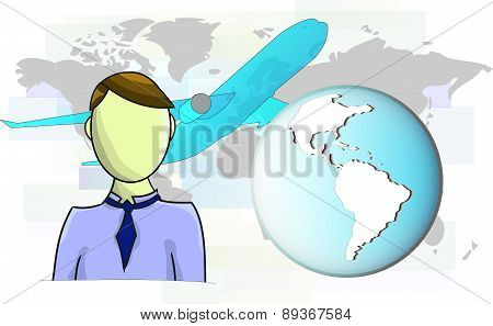Illustration Of Businessman With Airplane And World Map