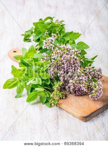 Flowering Oregano On A Kitchen Board
