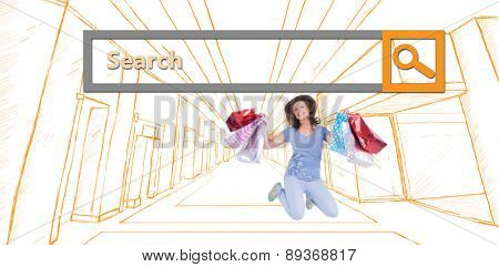 Excited brunette jumping while holding shopping bags against search engine