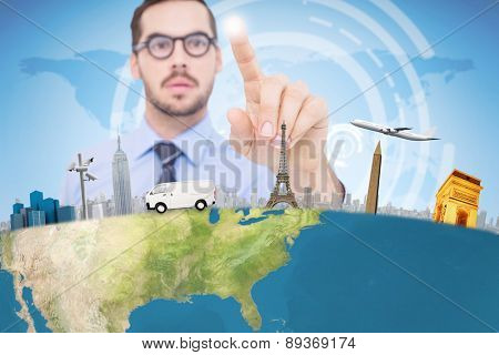 Businessman with glasses pointing something against blue and purple sky