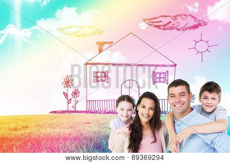 Portrait of parents giving piggyback ride to children against blue sky over green field