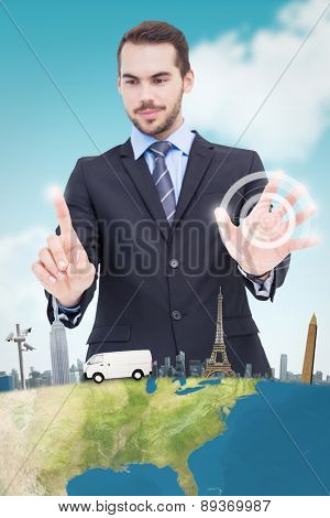 Businessman presenting number six with his fingers against blue sky