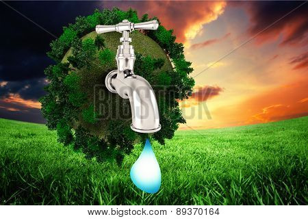 Earth with faucet against green field under orange sky