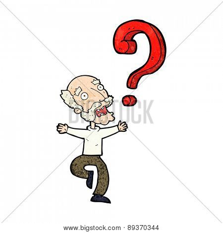 cartoon old man with question