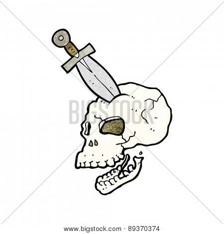 cartoon dagger stuck in skull