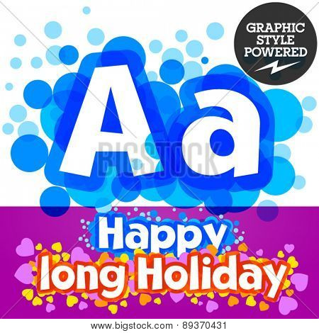 Vector set of happy festive motley alphabet. Letter A