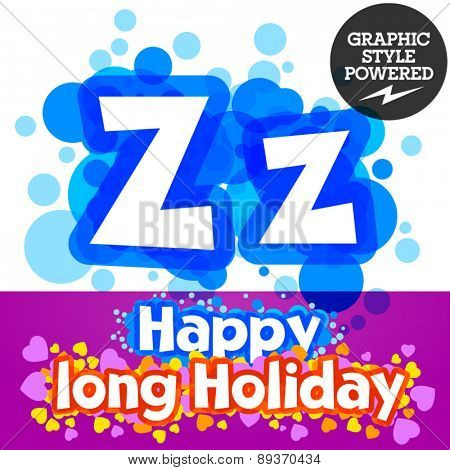 Vector set of happy festive motley alphabet. Letter Z