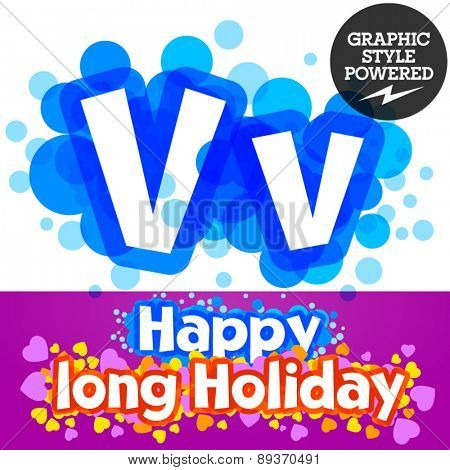 Vector set of happy festive motley alphabet. Letter V