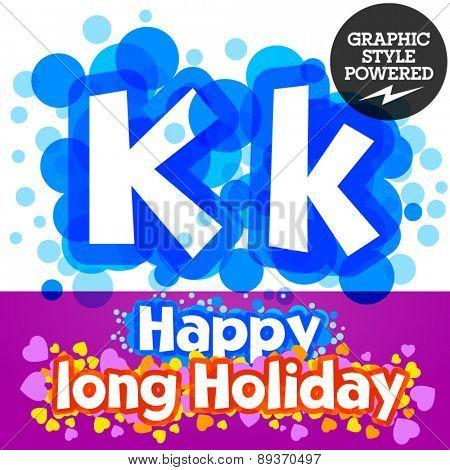 Vector set of happy festive motley alphabet. Letter K