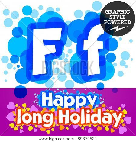 Vector set of happy festive motley alphabet. Letter F