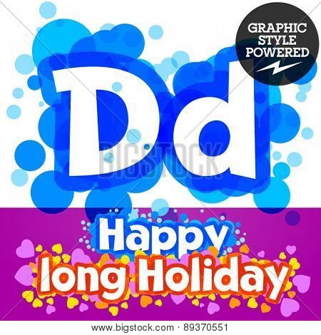 Vector set of happy festive motley alphabet. Letter D
