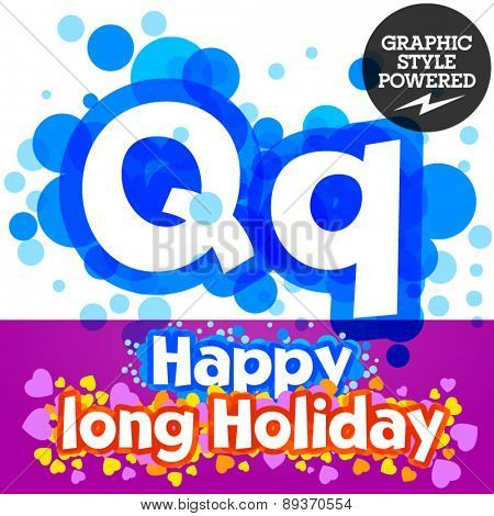 Vector set of happy festive motley alphabet. Letter Q