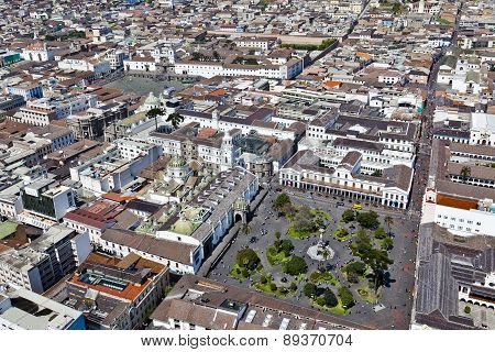 Quito, Ecuador - April 15 2014: Aerial view of colonial town of Quito; Independence Square, Government Palace, Cathedral and Plaza de San Francisco, Cultural Heritage.