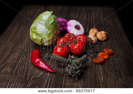 Fresh Food Ingredients Vegetables On The Tabel.