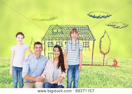 Family smiling together over white background against field against glowing lights
