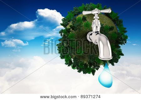 Earth with faucet against bright blue sky with clouds