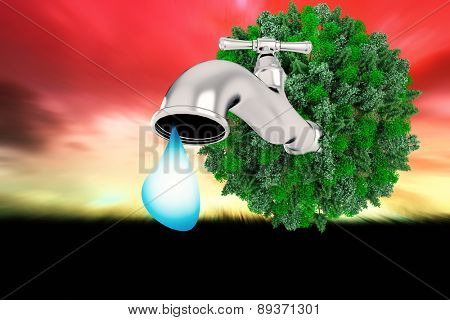 Earth with faucet against sky and field