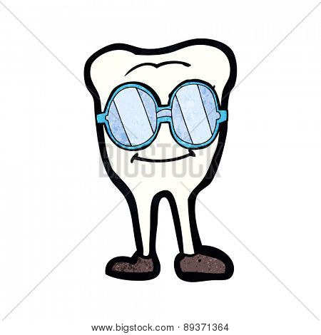 cartoon tooth wearing spectacles