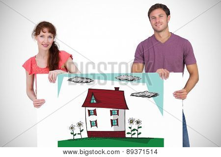 Couple looking at the camera against white background with vignette