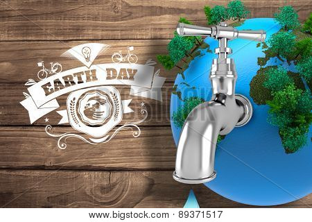 Earth with faucet against overhead of wooden planks