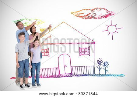 Family of four pointing at copy space against white background with vignette