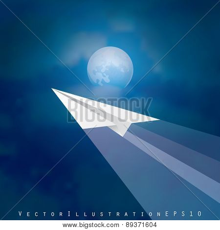 vector illustration with paper plane over moonlight