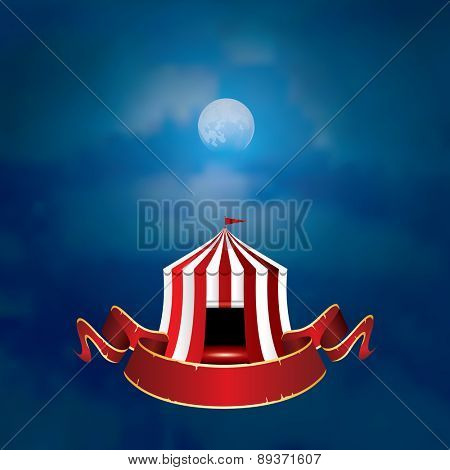 vector flying circus on moonlight with blank banner