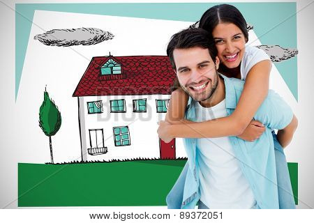 Happy casual man giving pretty girlfriend piggy back against white background with vignette