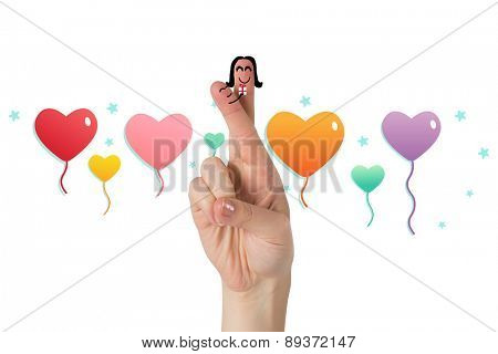 Fingers as a couple against heart balloons