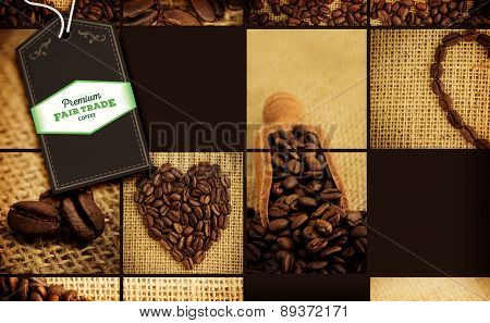 Fair Trade graphic against collage of coffee beans
