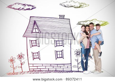 Parents giving piggyback ride to children over white background against white background with vignette