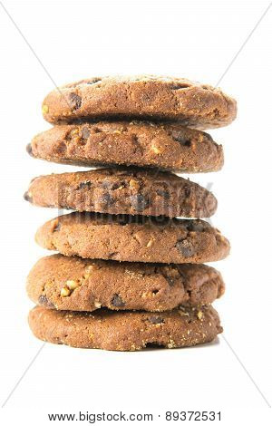 Delicious homemade cookies with chocolate and hazelnuts