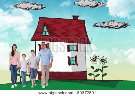 Portrait of happy family walking over white background against blue sky