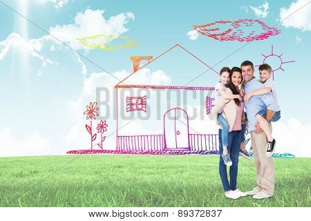 Parents giving piggyback ride to children over white background against blue sky over green field