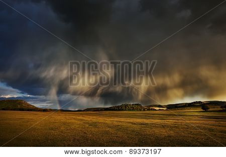stormy day on field in spring