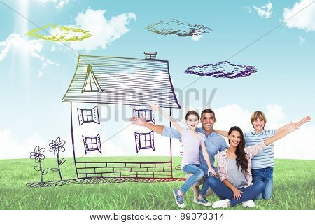 Happy family with arms outstretched over white background against blue sky over green field
