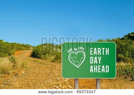 earth day ahead against mountain trail