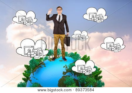 Young geeky businessman holding briefcase against beautiful blue cloudy sky